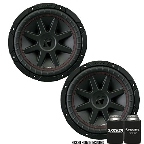 KICKER CVR10 CompVR 10-Inch (250mm) Subwoofer, 2-Ohm DVC Bundle