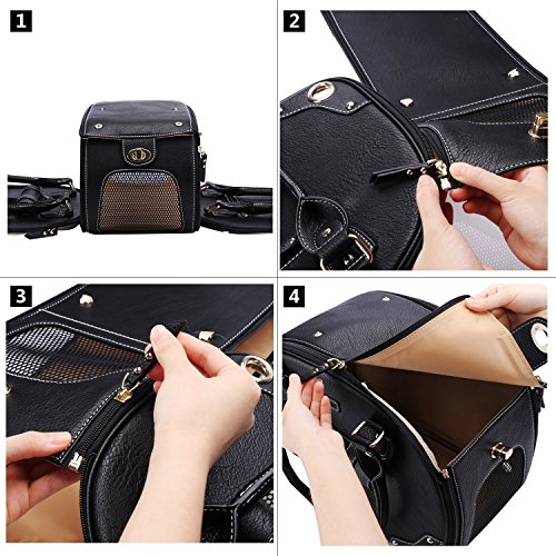 PetsHome Dog Carrier Purse, Pet Carrier, Cat Carrier, Foldable Waterproof Premium Leather Pet Travel Portable Bag Carrier for Cat and Small Dog Home & Outdoor Small Black