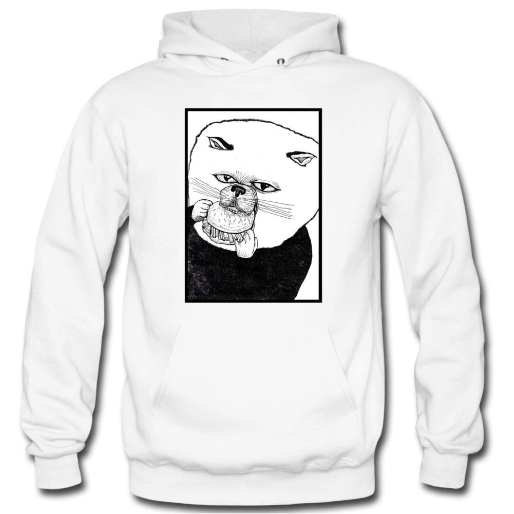 Mens Cuddle Puff Hooded Sweatshirt Funny Printed Pullover Hoodies Classic Long Sleeve T Shirt Tops