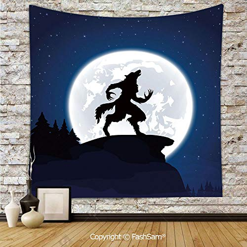 FashSam Tapestry Wall Blanket Wall Decor Full Moon Night Sky Growling Werewolf Mythical Creature in Woods Halloween Home Decorations for Bedroom(W59xL78) ()