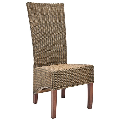 Safavieh Home Collection Aaron Medium Honey Black, Wicker Side Chair, Set of 2