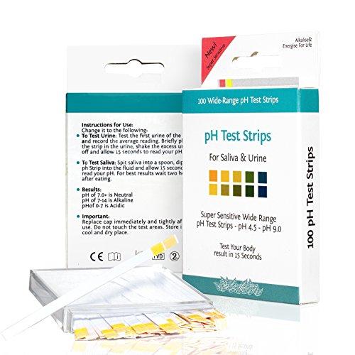 PH-TEST Streifen, für URIN und SPEICHEL, Einfach zu Benutzen, Lebenslange Zufriedenheitsgarantie, 100 Stk.