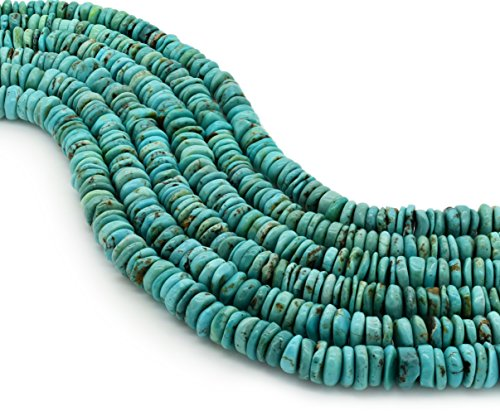 Bluejoy Genuine Natural American Turquoise 10mm Free-Form Disc Bead 16 inch Strand for Jewelry Making - Graduated Disc Beads