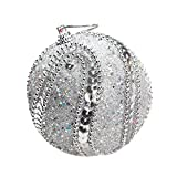 8cm Merry Christmas Rhinestone Glitter Baubles Balls,Pausseo Xmas Tree Hanging Ornament Decoration Pendant Creative Display DIY Home Decor Door Hanging Kids Toy Doll Gift Festival Prop (Silver)