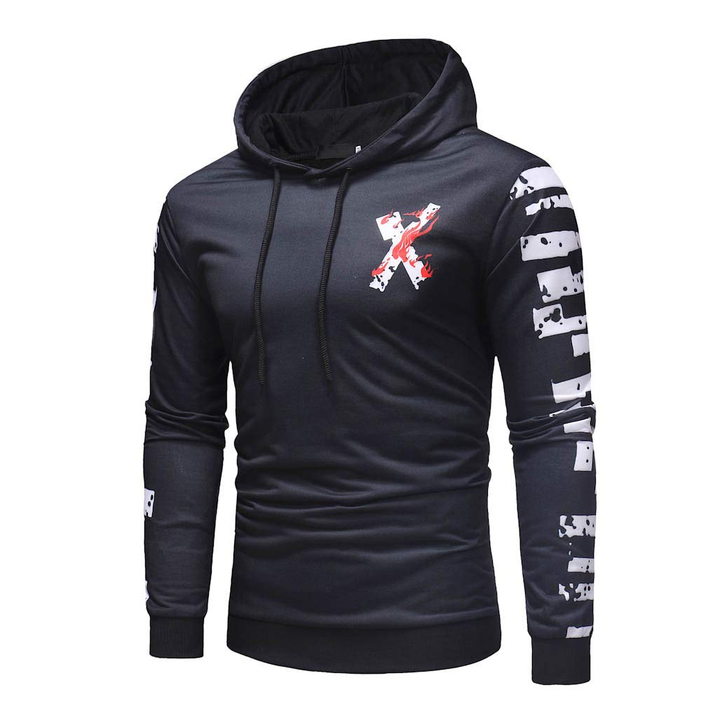Corriee Fashion Tops for Men 2018 Autumn Long Sleeve Letter Print Cool Hoodies Casual Sports Hooded Outwear Sweater