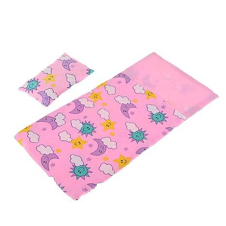 NON Sharplace 2 Piezas Saco de Dormir con Almohada Floral en Miniatura Accesorios para Casa de