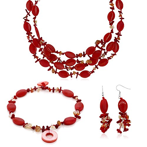 Bracelet Coral Chip Red (19 Inch Red Simulated Coral and Stone Chips Necklace Bracelet and Earrings Set)