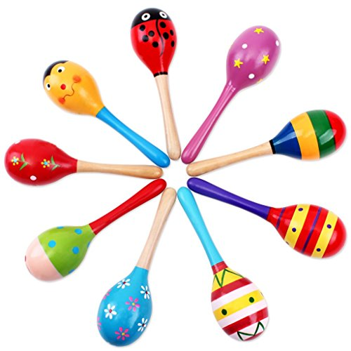 LAAT 1PC Kids Baby Music Toy Wood Maracas Wooden Rattle Shaker Toy Favor Gift for Kid Baby-Random Color
