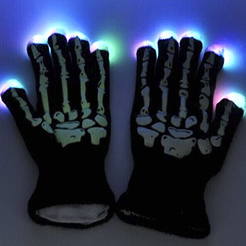 Colorful Dance Costume And Setting (Adult Colorful Flashing Finger LED Light up Rave Gloves Toys with 6 Modes for Clubs, Raves, Birthday, EDM, Disco, Bonfire Night, Halloween Costume Christmas Party Magic Props Knit Lighting Gloves Gift)