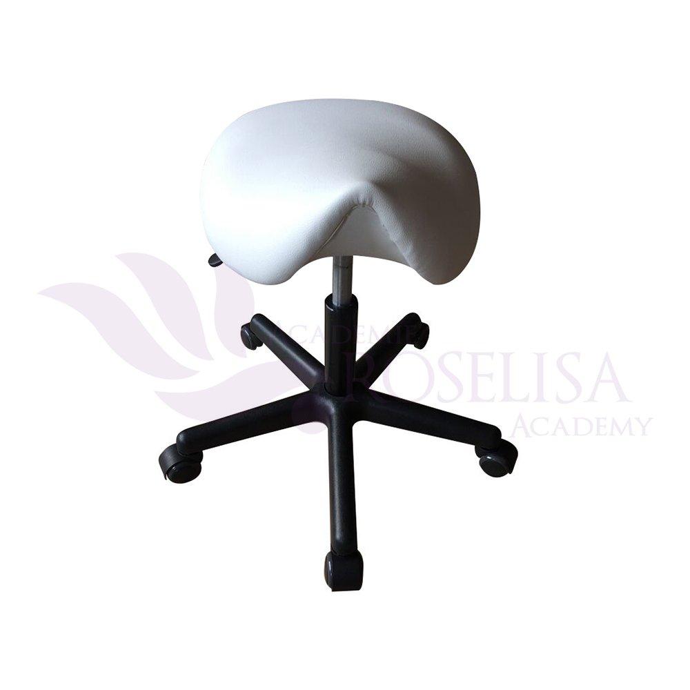 High Quality Saddle Adjustable Hydraulic Practical Stool on Wheels (White) Roselisa Inc.