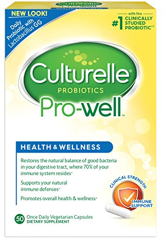 Culturelle Pro-Well Health & Wellness Daily Probiotic Dietary Supplement |Restores Natural Balance of Good Bacteria in Digestive Tract* | #1 Clinically Studied Probiotic | 50 Vegetarian Capsules