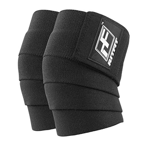 RitFit Knee Wraps (Pair)-Ideal for Squats, Powerlifting, Weightlifting, Cross Training WODs & Gym Workout - Compression&Elastic Support - for Men & Women - Bonus Carry Case (Black