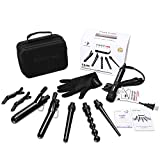 PARWIN PRO Curling Wand Black Diamond Tourmaline Ceramic 5 In 1 Interchangeable Barrels Curling Iron Set with Heat-Protective Non-Slip Heat Proof Mat