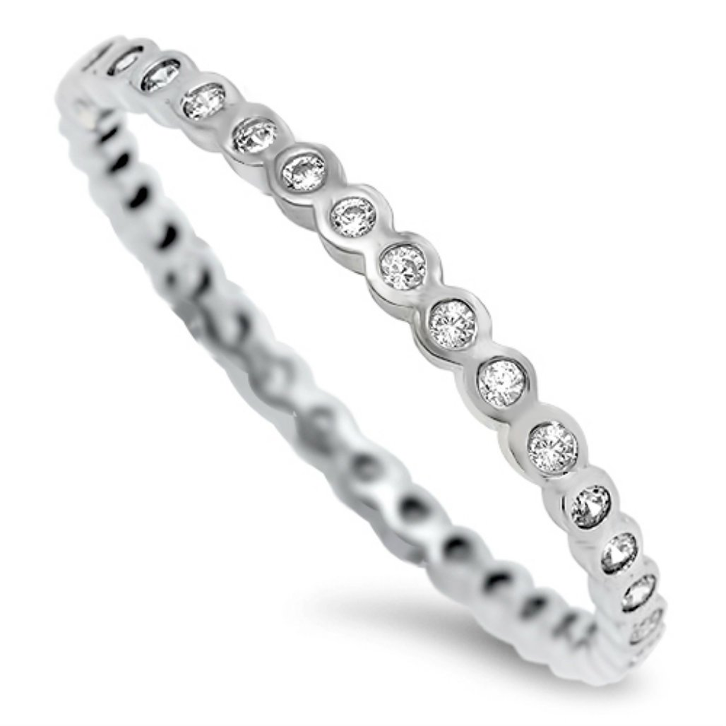 Sterling Silver Clear Crystal Eternity Midi Toe Ring (4.5) by California Toe Rings