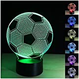 Etzon Technologies 3D Night Light Football 7 Color Change LED Table Desk Lamp 3D Optical Illusion Night Light Bedroom Children Room Decorative or Gifts for Boys, Dad, Sports Fan Gift (Football)