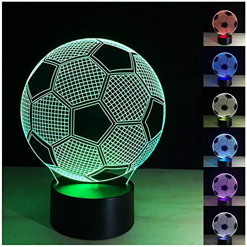 Etzon Technologies 3D Night Light Football 7 Color Change LED Table Desk Lamp 3D Optical Illusion Night Light Bedroom Children Room Decorative or Gifts for Boys, Dad, Sports Fan Gift (Football) by Etzon Technologies