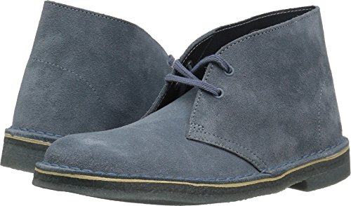 Clarks Botte À Lacets Boot Desert Pour Femme Bleu / Gris Suede 2