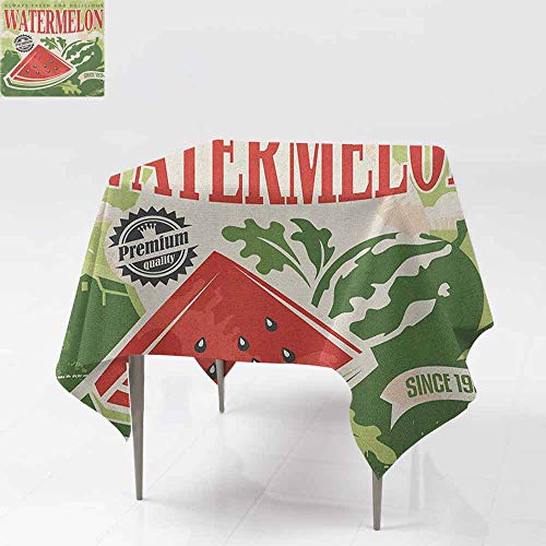 DUCKIL Oil-Proof and Leak-Proof Tablecloth Vintage Old Fashioned Funny Watermelon with Faded Colors Classic Graphic Art Picnic W70 xL70 Green Red Ecru