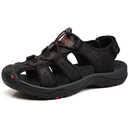 37c2c57a897 on sale Jamron Mens Genuine Leather Athletic Outdoor Closed Toe Fisherman  Sandals Speed-Laces Sport
