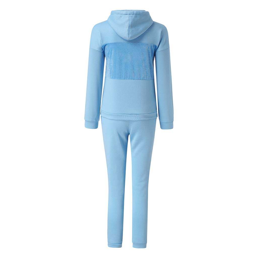 Two Piece Sweatsuit Pullover Hoodie Jogging Suits for Women Long Pants Tracksuit Set Jumpsuits
