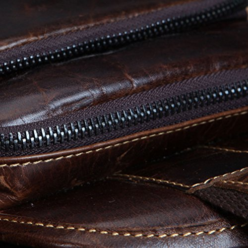 Zhhlinyuan Accesorio para hombre Mens Waterproof Brown Adjustable First Layer Of Cowhide Leather Shoulder Chest Bag Multi-pockets Dark blown