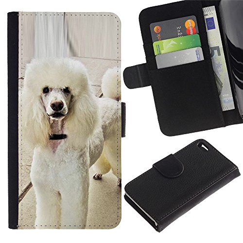 EuroCase - Apple Iphone 4 / 4S - white poodle standard fluffy tail dog - Cuero PU Delgado caso cubierta Shell Armor Funda Case Cover