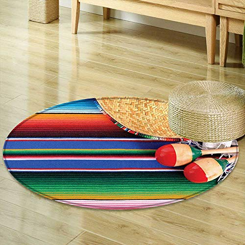 Mikihome Non Slip Round Rugs Mexican Decorations Collection Mexican Artwork with Sombrero Straw Hat Maracas Serape Blanket Rug Image Green Blue Red Ivory Decor Oriental Floor and Carpets R-35 ()