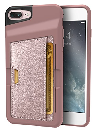 Silk iPhone 7 Plus/8 Plus Wallet Case - Q CARD CASE [Slim Protective Kickstand CM4 Grip Cover] - Wallet Slayer Vol. 2 - Rose Gold by Silk