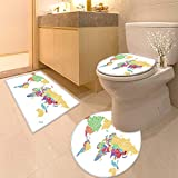 HuaWuhome 3 Piece Toilet lid Cover mat Set World map Made of Typographic Country Names Printed
