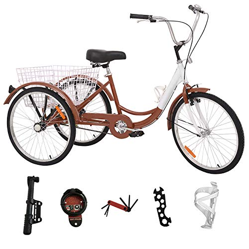 H&ZT Adult Tricycle Trike 3 Wheeled Cruiser Bike with Large Basket and Maintenance Tools, 24 Inch Wheel Size Bike Trike, Men's Women's Cruiser Bike (Brown, Single Speed)