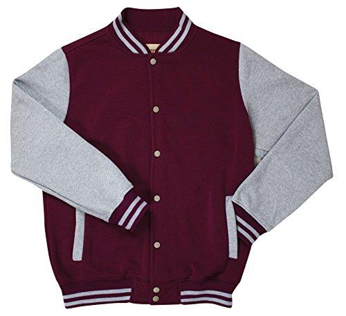 Access Men's Varsity Letterman Jacket (Large, Burgundy & Gray) - Football Jacket