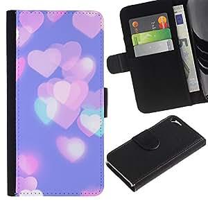WINCASE Cuadro Funda Voltear Cuero Ranura Tarjetas TPU Carcasas Protectora Cover Case Para Apple Iphone 5 / 5S - corazones de color rosa púrpura de la ciudad verde azulado