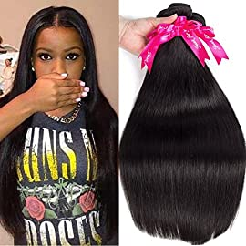 Flady Malaysian Straight Virgin Hair 3 Bundles with Closure 8a Grade Unprocessed Virgin Human Hair Bundle with Lace Closure (10 12 14+8inch)