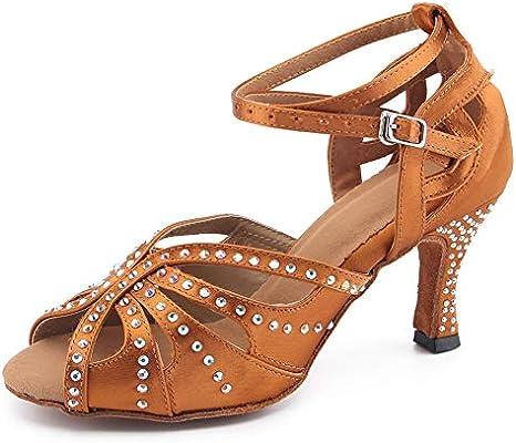 BCLN Rhinestone Latin Salsa Tango Swing Dance Practice Formal Party Ballroom Dance Shoes 3 Heels for Women