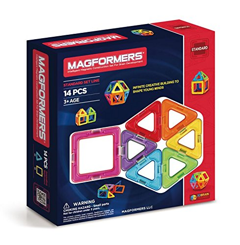 Magformers Basic Set (14-pieces) Magnetic Building Blocks, Educational Magnetic Tiles Kit, Magnetic Construction STEM Toy Set -