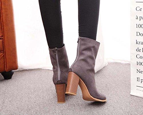 TPulling Herbst Winter Schuhe Mode Spitz Zulaufender Reißverschluss Martin Stiefel Plus Samt Mit Hochhackigen Stiefeln Grau