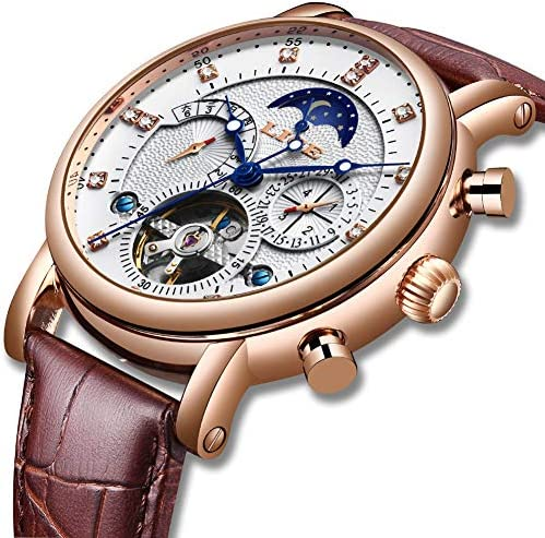 LIGE Men Watches Fashion Waterproof Automatic Mechanical Watch Men White Luxury Business Brown Leather Wristwatch
