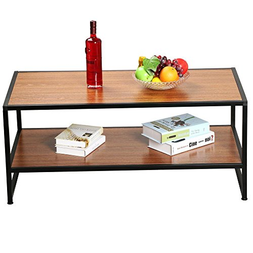 Yaheetech modern living room 2 shelf tier large rectangle - Metal side tables for living room ...