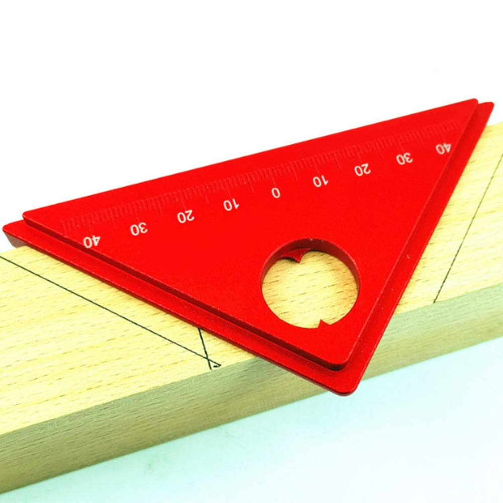 Mokylor Aluminum Alloy 45 Degree Marking Angle Ruler with Base Woodworking Angle Measuring Ruler Protractor Triangle Ruler Measuring Scribing Tool