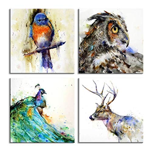 Canvas Wall Art for bedroom Beautiful Watercolor abstract peacock Bird and eagle deer Painting 4 pcs Wall Art Print on Contemporary Home Bedroom Wall Decoration Wrapped with Wooden Frame Ready to Hang