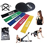 9 Pieces Workout Set Includes Gliding Discs Core Sliders with 5 Resistance Loop Exercise Bands and Adjustable Speed Jump Rope, with Carry Bag for Exercise&Fitness Training, Official Elite Athletic Set