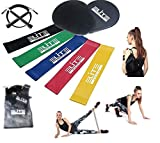 9 Pieces Workout Set Includes Gliding Discs Core Sliders with 5 Resistance Loop Bands and Adjustable Speed Jump Rope, with Carry Bag for Exercise&Fitness Sports Training, Official Elite Athletic Set