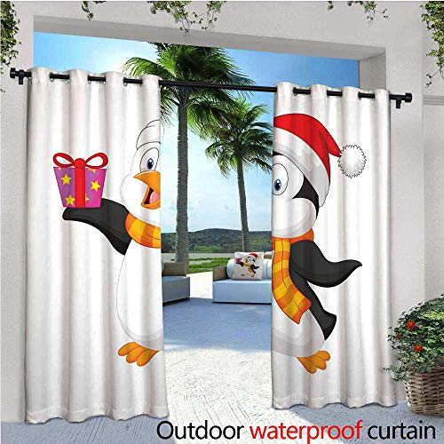 cobeDecor Baby Balcony Curtains Friendly Penguin Character with Christmas Attire Holding an Ornate Box North Pole Outdoor Patio Curtains Waterproof with Grommets W96 x L84 Multicolor - Packers North Pole