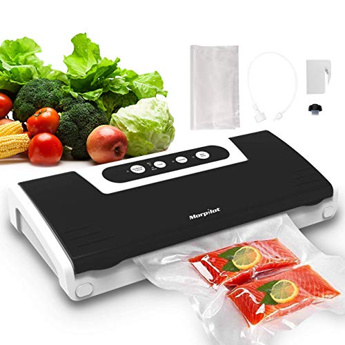 Vacuum Sealer Food Saver, Automatic Vacuum Air Sealing System for Food Preservation, Dry & Moist Food Modes, 4 in 1 Food Sealer with Cutter, 10 Vacuum Sealer Bags, Vacuum Bottle Stopper, Air Suction Hose for Sous Vide, 5x Longer Fresh, 30 Consecutive Seals, 65Kpa, Safety Certified