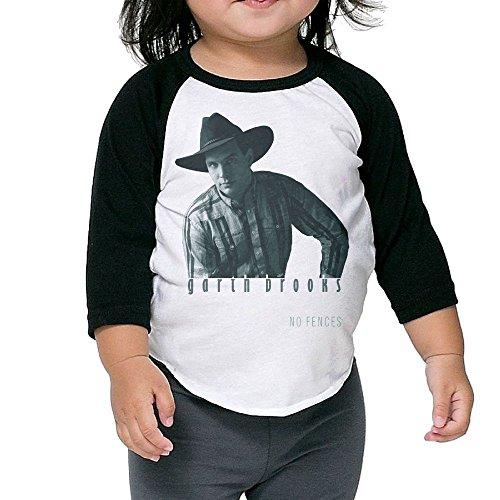 Matta Kid's Garth Brooks No Fences Raglan Baseball T-Shirt for Girls & Boys Black 3 Toddler