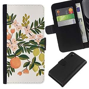 KLONGSHOP // Tirón de la caja Cartera de cuero con ranuras para tarjetas - Lemon Tree Naranja Manzana - Sony Xperia Z3 D6603 //