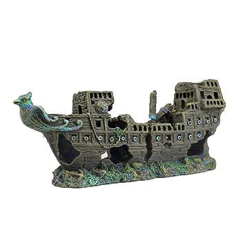 POPETPOP 1 unid Resina Pirata Naves Barco Acuario Adorno de Tanque de Peces Paisaje Decoración Accesorios: Amazon.es: Hogar