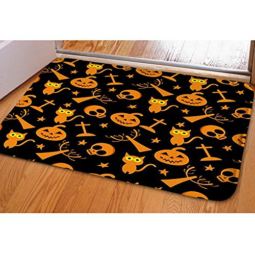 iBathRugs Door Mat Indoor Area Rugs Living Room Carpets Home Decor Rug Bedroom Floor Mats,Halloween Pumpkin Skull Seamless Pattern