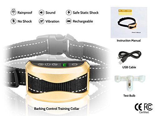 Bark Collar To Stop Dogs Barking: Humane Harmless USB Rechargeable, Beep Sound Vibration Shock-No Shock Option, 2018 Upgrade Batteries Included, Great for Training Puppies, Small Medium Large Breeds