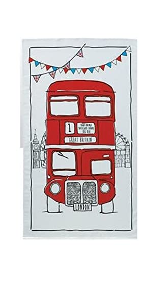 Sketchy Red London Bus Tea Towel Souvenir Sketch Routemaster Cartoon